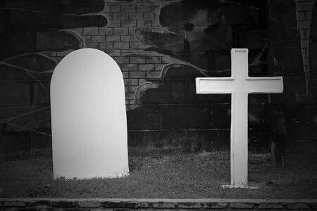 Graves and cross stone, dark tone
