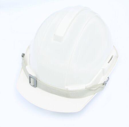 White safety helmet construction on white background