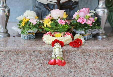 Garland flower for worship and respect. Front view. Stock Photo