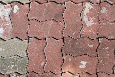 Brick pavement tile texture background.