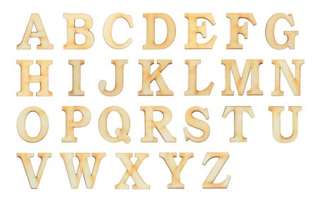 English alphabet letters set over white background. Set of flat wood character font. Фото со стока