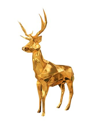 Golden deer statue isolated over white background.