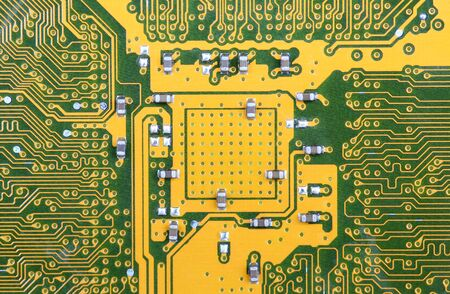 Close up of the green-yellow circuit board