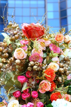 Beautiful Artificial bouquet flowers background