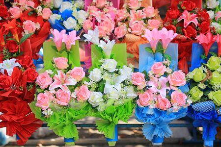 Beautiful bouquet rose flower in the row. Colorful flowers.