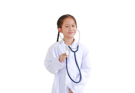 Portrait asian little child girl with stethoscope while wearing doctor's uniform isolated over white background