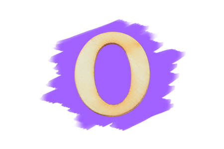 Alphabet letter wooden font on painted purple color isolated on white background. English flat wood character O.