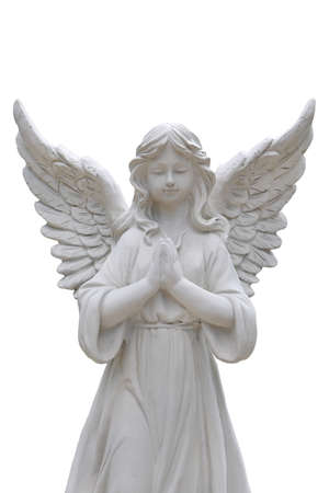 Angel statues isolated on white background.