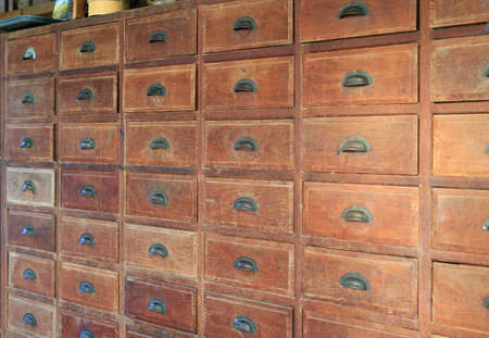 Perspective of an old wooden drawer.
