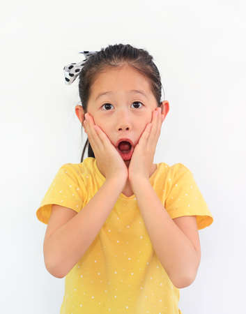 Portrait of surprised asian little child girl isolated on white background. Kid looking at camera and hands touching on cheeks