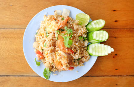 Fried rice with seafood. Thailand delicious popular food. Stock Photo