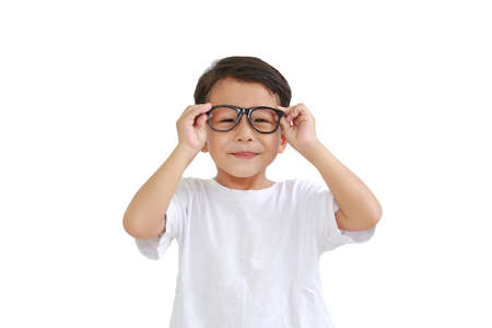 Portrait of funny asian little boy child wearing glasses isolated on white background