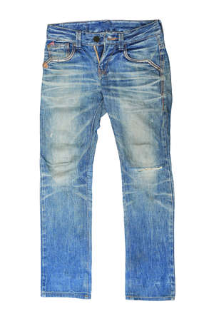 Blue Jeans isolated on white background. Male denim clothing front 免版税图像