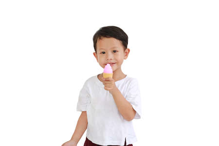Portrait of asian little baby boy holding ice cream toy on white background 스톡 콘텐츠