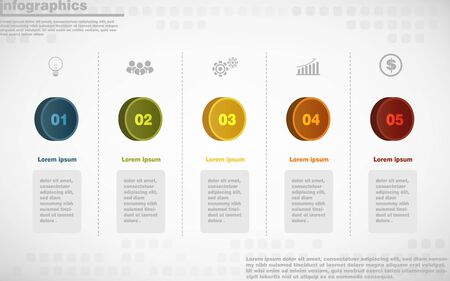 illustrations vector of infographics design and business marketing icons with 5 options or processes layout, diagram, annual report, web design.