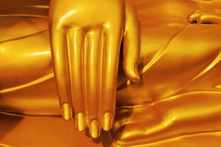 Buddha statues hand.Gold Buddha