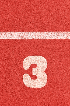 Start track. Lanes 3, number three of a red racing track.