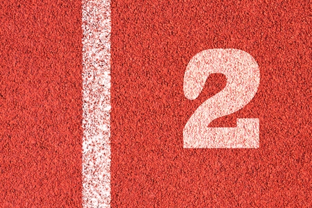 Start track. Lanes 2, number two of a red racing track.