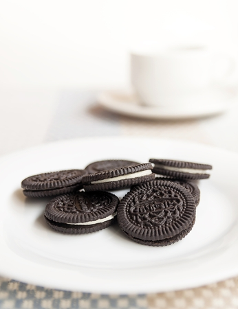 twist: Chocolate cookie and cream. on White plate