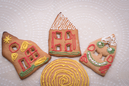 Christmas Gingerbread cookies on the table with Background
