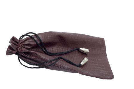 Leather handbag on a white background