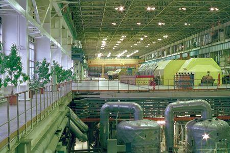 electricidad industrial: La tienda principal de la fabricaci�n de la energ�a el�ctrica.  Foto de archivo
