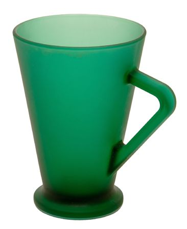 Green mug on a white background.