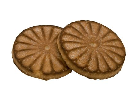 Two round cookies on a white background.