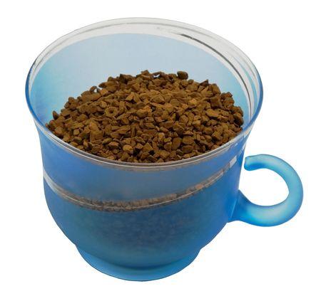 joke glasses: Blue mug from coffee on a white background.