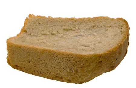 poor diet: Piece of bread on a white background. Photo. Stock Photo