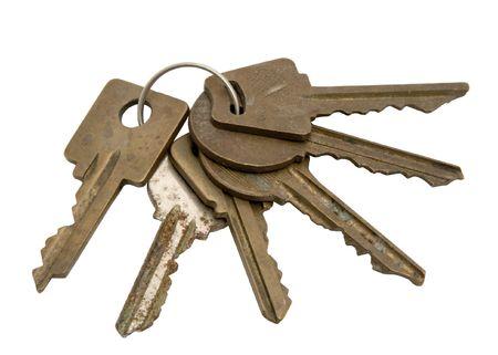 Six keys on a white background. Photo.