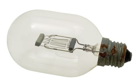 Electric lamp on a white background. Photo. Stock Photo