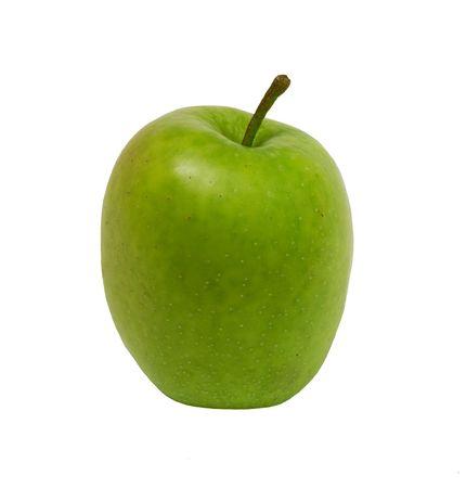 Green apple on a white background. Photo. Stock Photo