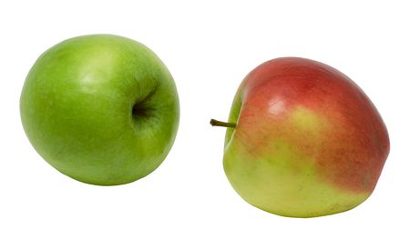 Green and red apples on a white background. Photo. Stock Photo
