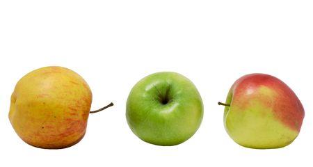 Three apples on a white background. Photo. Stock Photo