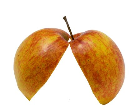 two and a half: Two half of red apple on a white background. Photo.