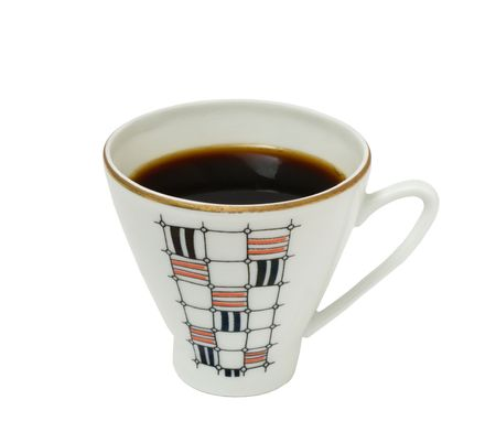 Coffee in a cup on a white background. Photo.