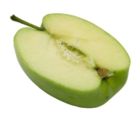 One half of green apple on a white background. Photo.