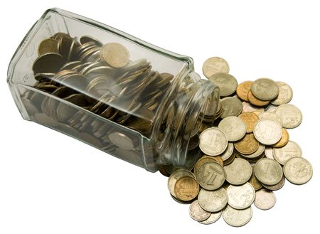 Glass bank with cashes on a white background. Photo.