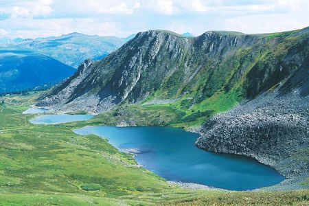 Lakes in valley of mountains.  photo