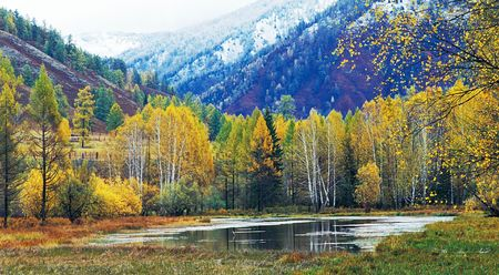 Lake in mountain valley. Photo.