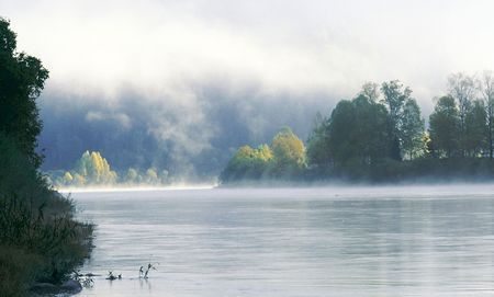 The river in the morning in fog. Photo.