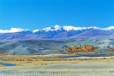 High-mountainous valley, sacred place of Buddhists. Photo. Stock Photo