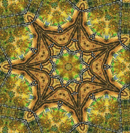 Abstract seven-final star with patterns. Photo. Stock Photo