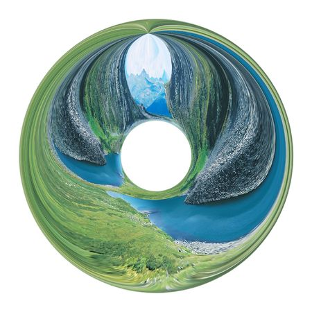 Abstract mountain landscape inside of circle. Illustration.