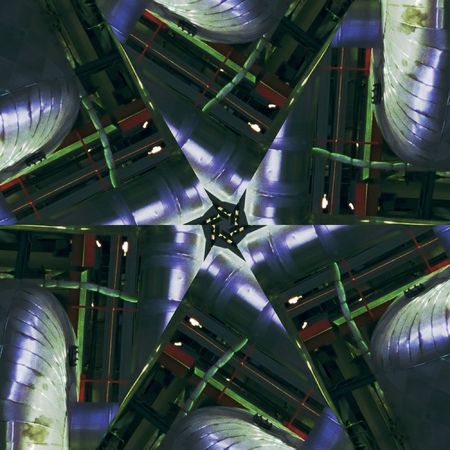 Abstract six-final star with patterns. Illustration. Stock Photo