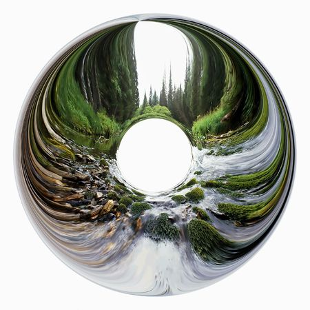 Abstract landscape with the river inside of circle. Illustration.