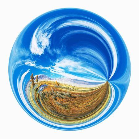 Abstract landscape inside of circle. Illustration.  illustration