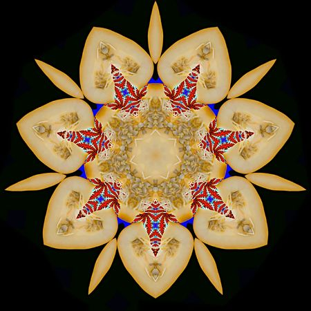 graceful: Abstract seven-final star with patterns. Illustration. Stock Photo