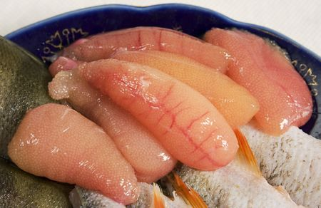 River perch and its roe. Photography.